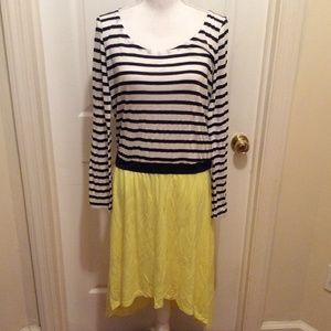 Splendid Dress L Blue White Yellow Striped